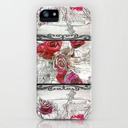 Gothic Victorian Roses Design iPhone Case