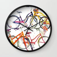 bikes Wall Clocks featuring bikes by takmaj