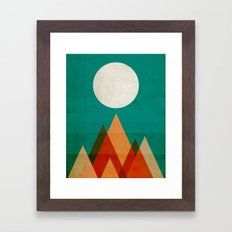 Full moon over Sahara desert Framed Art Print