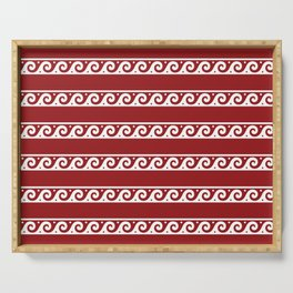 Red and white Greek wave ornament pattern Serving Tray