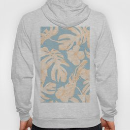Island Vacation Hibiscus Palm Coral Sky Blue Hoody