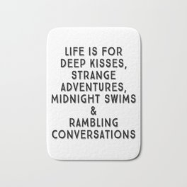 Life Is For Deep Kisses, Black and White Palette Bath Mat