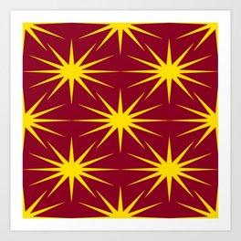 Mid-Century Modern Art Starburst 2.1 Yellow Burgundy Art Print