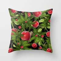 cherry Throw Pillows featuring cherry by mark ashkenazi
