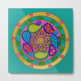 Paisley heart magic Mandala, acrylic painting on tile Metal Print