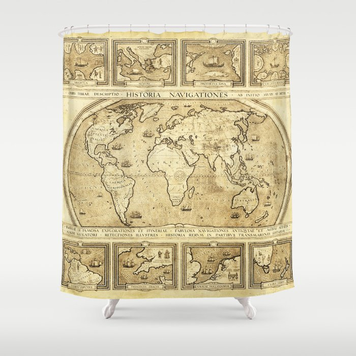 Vintage Map Of The World Shower Curtain