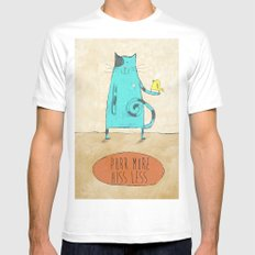 Purr More Hiss Less White Mens Fitted Tee MEDIUM