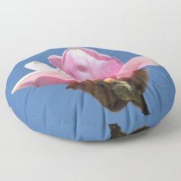 Magnolia Blossom on a Sky Blue Field Floor Pillow
