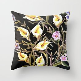 Arum Lily Artistic Floral Design Throw Pillow
