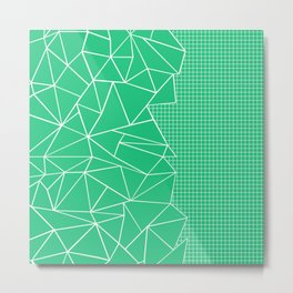 Abstract Outline Grid Emerald Green Metal Print