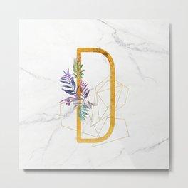 Modern glamorous personalized gold initial letter D, Custom initial name monogram gold alphabet prin Metal Print