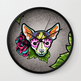 Chihuahua in Moo - Day of the Dead Sugar Skull Dog Wall Clock