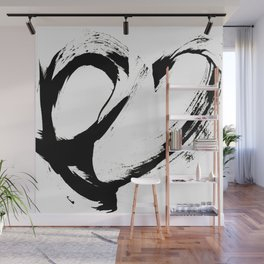Brushstroke 6: a minimal, abstract, black and white piece Wall Mural