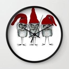 Christmas owls Wall Clock