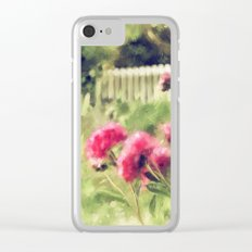 Pink Peonies In A Vintage Garden Clear iPhone Case