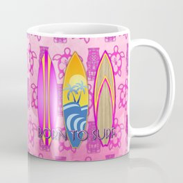 Pink Born To Surf Pink Tiki Coffee Mug