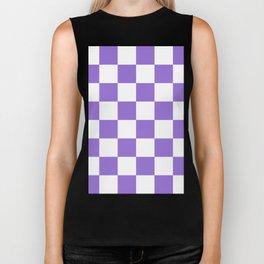 Large Checkered - White and Dark Pastel Purple Biker Tank