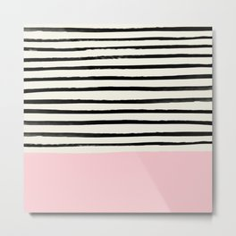 Millennial Pink x Stripes Metal Print