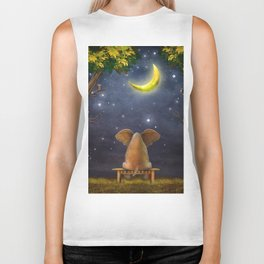 Illustration of a elephant on a bench in the night forest  Biker Tank