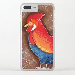Colorful Rooster on Brown Background Clear iPhone Case