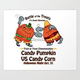 Candy Corn vs Candy Pumpkin Art Print