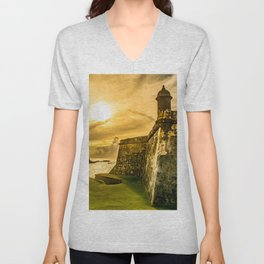 San Juan Puerto Rico Wall Sunset Unisex V-Neck