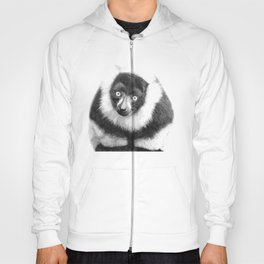 Black and white lemur animal portrait Hoody