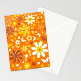 Flowers And Butterflies On Orange Background Stationery Cards