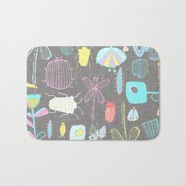 Insect watercolor grey textile texture Bath Mat