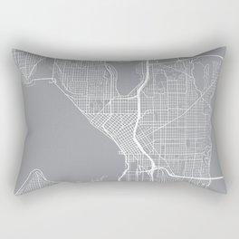 Seattle Map, Washington USA - Pewter Rectangular Pillow