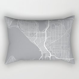 Seattle Map, Washington USA - Pewter Rectangular Pillow