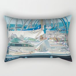 Sunny day in the harbor   Boats in Cannes   Travel Photography Rectangular Pillow