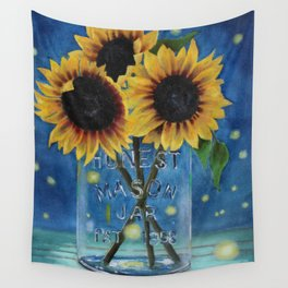 Lightning Bugs and Sunflowers Wall Tapestry