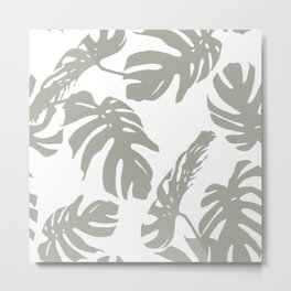 Simply Retro Gray Palm Leaves on White Metal Print