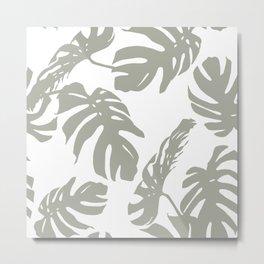 Simply Retro Gray Palm Leaves on White Metal Print