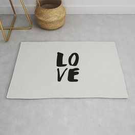 Monochrome LOVE black-white hand lettered ink typography poster design home decor wall art Rug