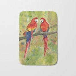 Scarlet Macaw Parrots Bath Mat