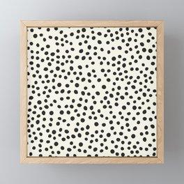 Black Decorative Dots on White, Minimalist line drawing, Modern art print with dots. Framed Mini Art Print
