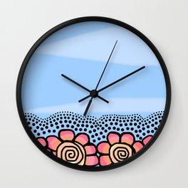 Four Doodle Flowers - Light Blue Pinks Wall Clock