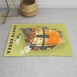 South Korea illustrated travel poster. Rug
