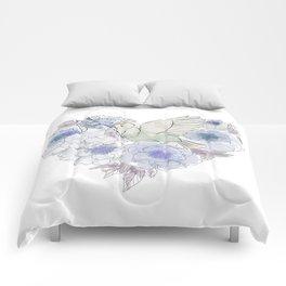 Loose bird of paradise, blue paradisebirds, floral  graphicdesign, birds, home decor Comforters