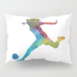 Woman soccer player 01 in watercolor Pillow Sham