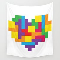 tetris Wall Tapestries featuring Tetris Heart by Shannon's Sketchfest