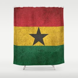 Old and Worn Distressed Vintage Flag of Ghana Shower Curtain