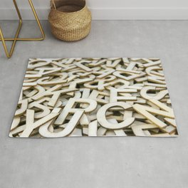 Pile of Mixed Wooden Letters Close Up Rug