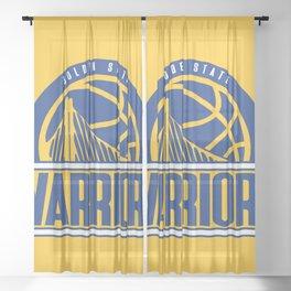 Warriors vintage basketball logo Sheer Curtain