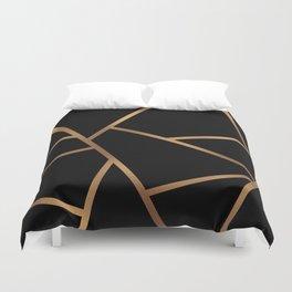 Black and Gold Fragments - Geometric Design Duvet Cover