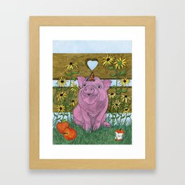 Happy Little Piglet Framed Art Print