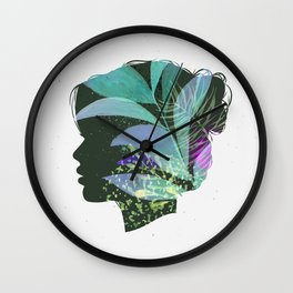 Face female silhouette floral light green Wall Clock