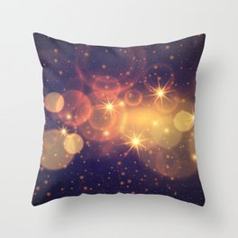 Shiny Sparkling Festive Holiday Bokeh Decorative Throw Pillow